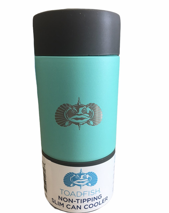ToadFish® Anchor Non Tipping Slim Can Cooler In Teal