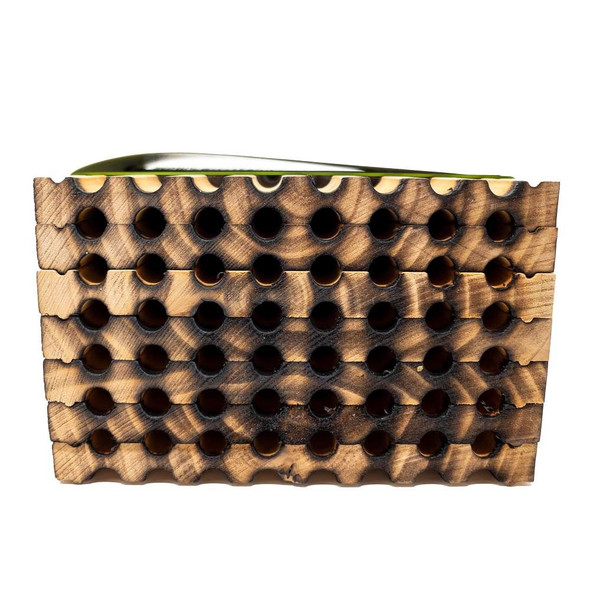 spring Mason bee wood tray 48 hole front view