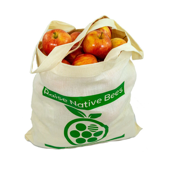 Crown Bees cotton tote with apples