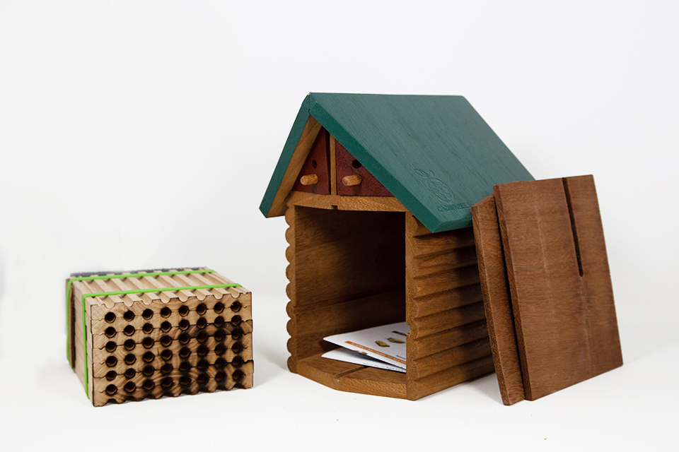 Cabin Bee House & Nesting Material Combos Spring Season Wood Tray