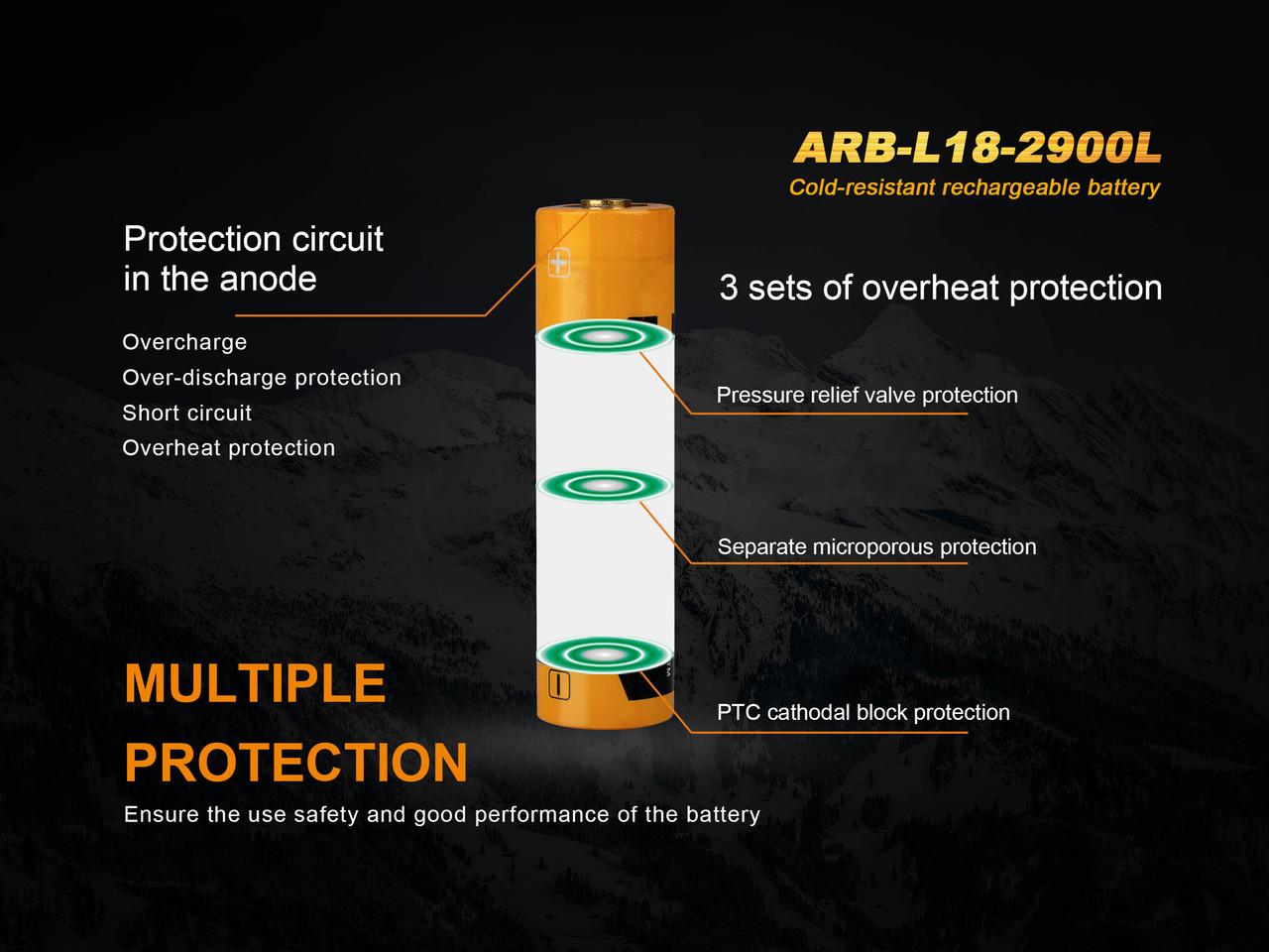 Fenix ARB-L182900L Cold-Resistant 18650 Rechargeable Battery
