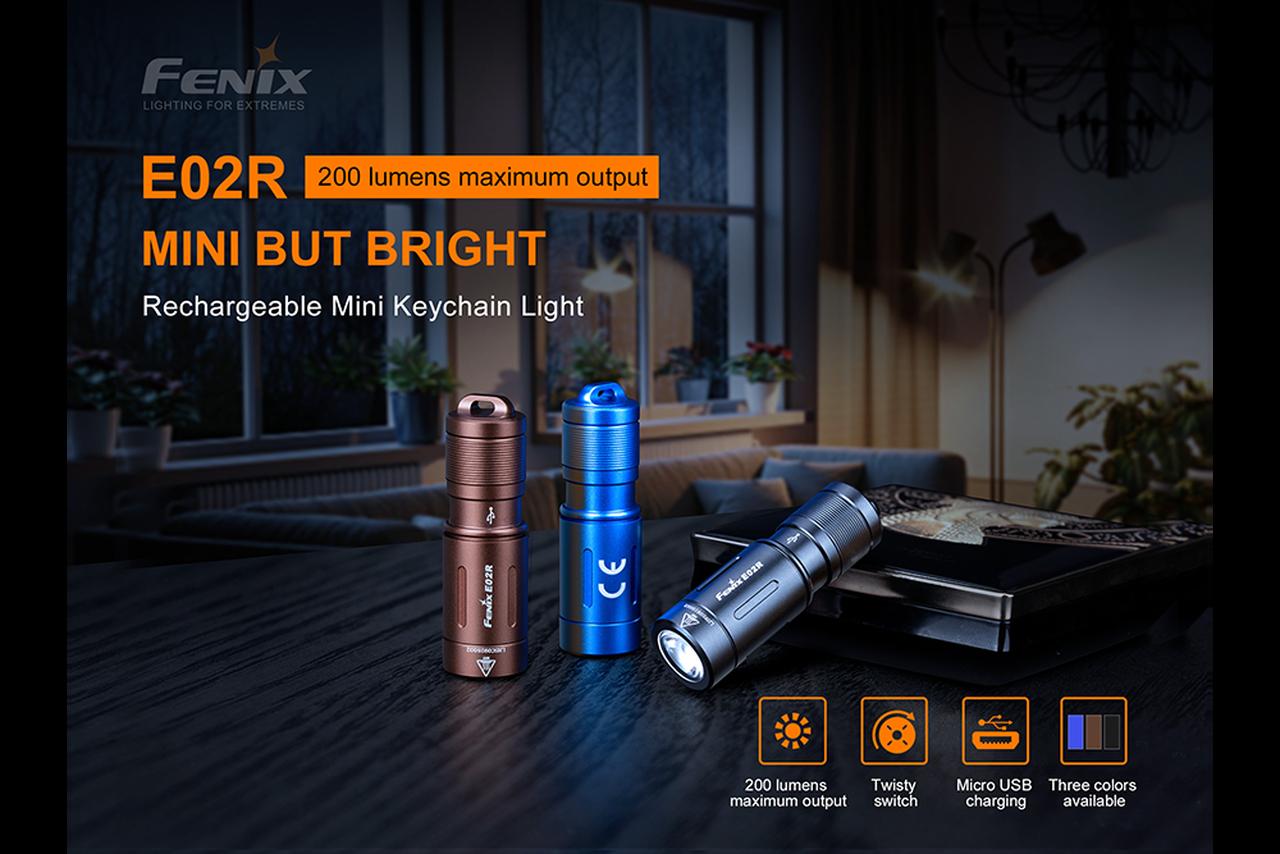 fenix e02r keychain rechargeable flashlight