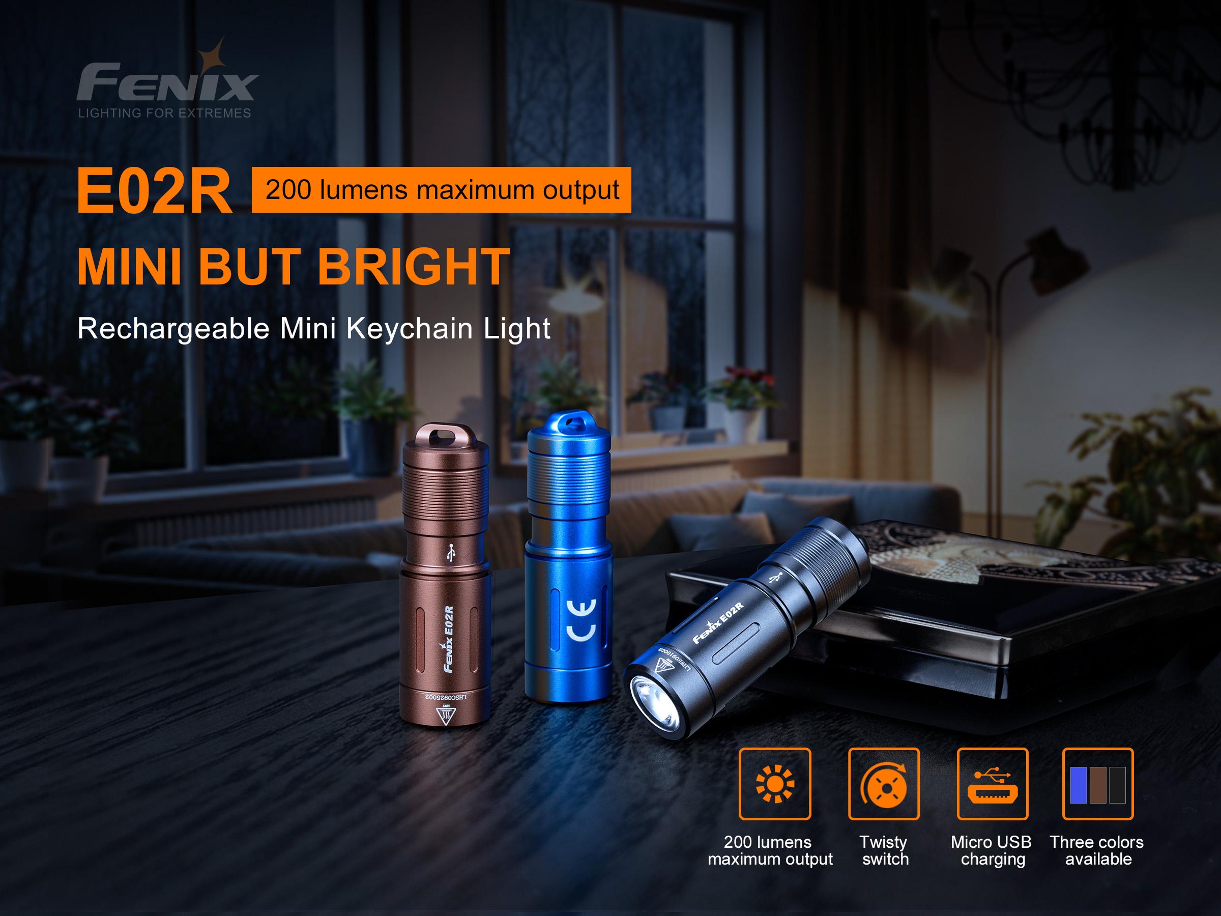 Fenix E02R keychain flashlight