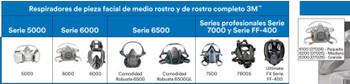 Mascarilla 3M 7500 con filtro 6003 con prefiltros N95 Y retenedores