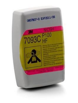 Cartucho / Filtro Fluoruro de Hidrógeno 3M™ 7093C/37173(aad), P100 protección respiratoria con Alivio del nivel de molestias por vapor orgánico y gas ácido 60 EA/Caja