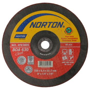DISCO DESBASTE ACERO INOXIDABLE «NORTON» 9X1/4X7/8″