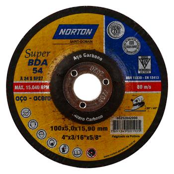 DISCO DESBASTE METAL «NORTON» 4X3/16X5/8″