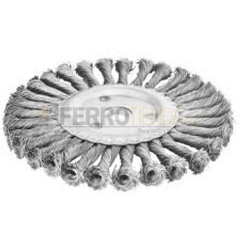 """Cepillo circular TOTAL 5'' x 7/8"""" de alambre trenzado p/esmeril"""
