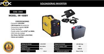 SOLDADORAS INVERTER   PTK  160A IW 160BV