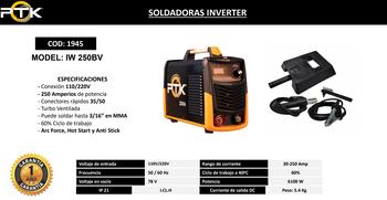 SOLDADORAS INVERTER   PTK  IW 250BV  250  AMP