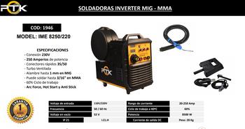 SOLDADORAS INVERTER MIG - MMA   IME 8250/220