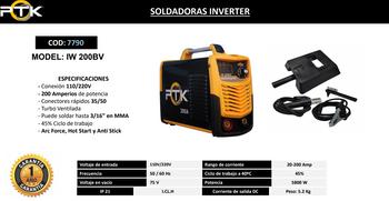 SOLDADORAS INVERTER PTK IW 200BV  200 AMP