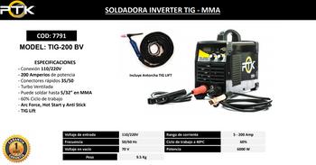 SOLDADORA INVERTER TIG - MMA  TIG-200 BV  200 AMP