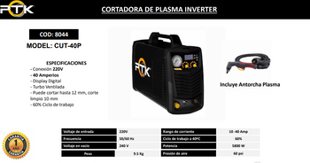 CORTADORA DE PLASMA INVERTER CUT-40P  40 amp
