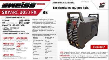 Soldadora EQUIPO PARA MMA Y TIG  SKYARC 2050 FX  200Amp incluye Antorcha + Gafas
