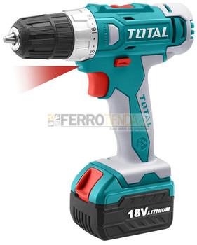 Taladro percutor atornillador inalambrico TOTAL 18V 3/8'' velocidad variable 22+1+1 torques