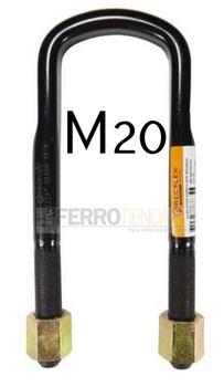 Abrazadera correa semi-redonda con tuerca rosca M20