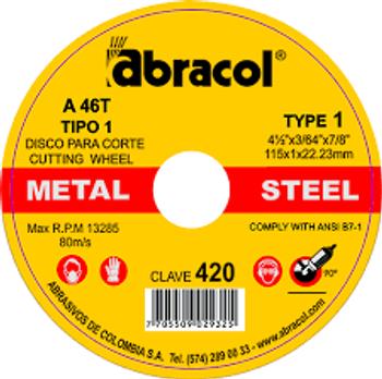 Disco corte Abracol A46T 9 x 1/16 x 7/8