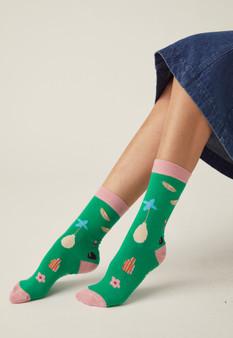 NancyBird Socks Holiday Green