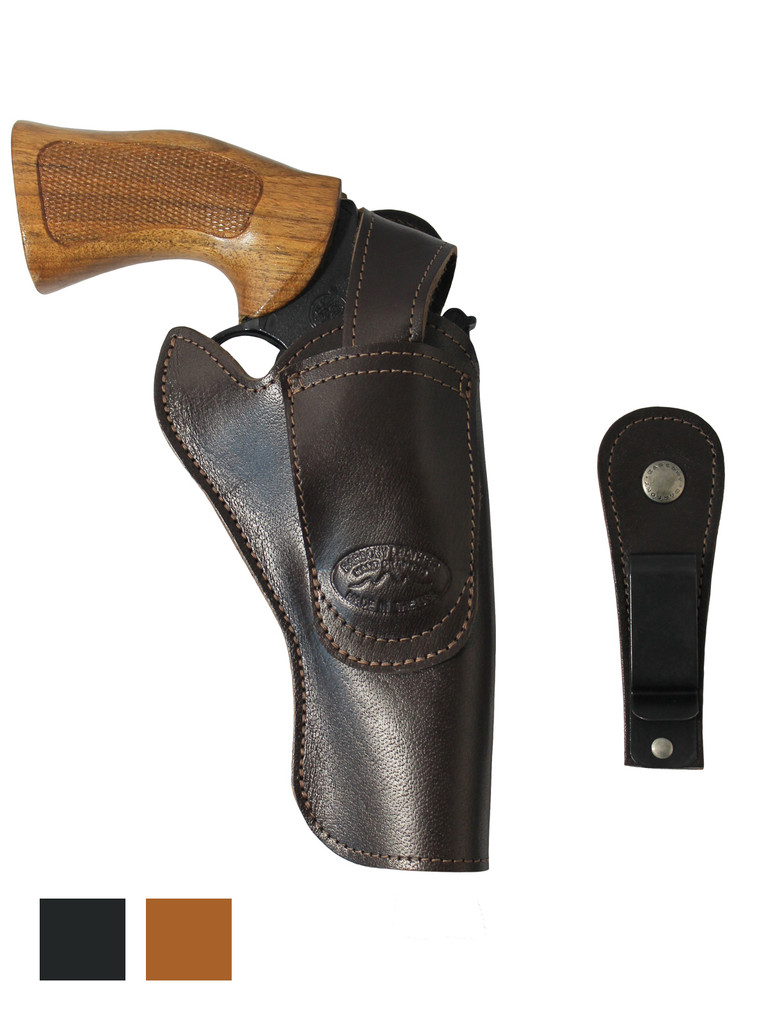 """Leather 360Carry 12 Option OWB IWB Cross Draw Holster for 4"""" Revolvers"""