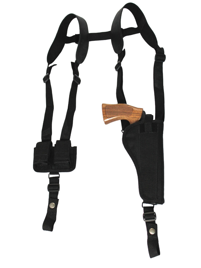 "Vertical Shoulder Holster w/ Speed-loader Pouch for 4-5"" .38 .357 .41 Revolvers"