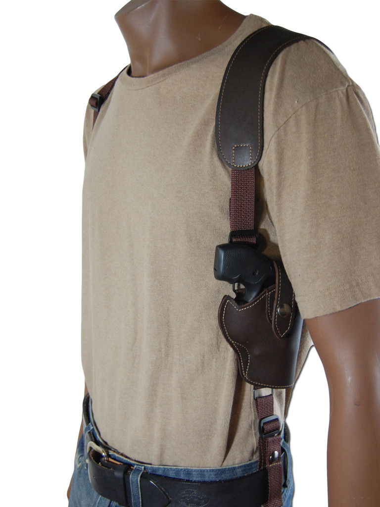 Brown Leather Vertical Shoulder Holster With Speed Loader