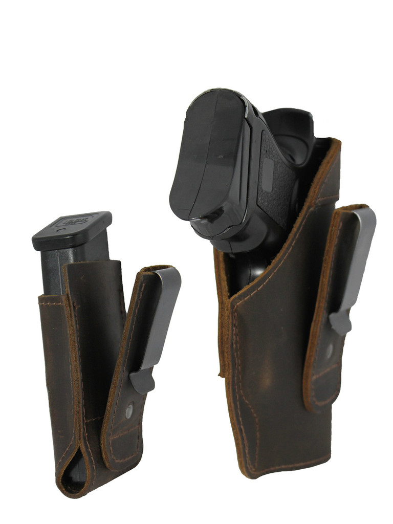 Brown Leather Tuckable IWB Holster + Magazine Pouch for Compact Sub-Compact 9mm .40 .45 Pistols