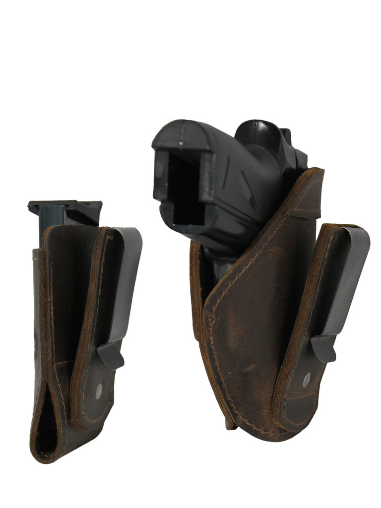 Brown Leather Tuckable IWB Holster + Magazine Pouch for Mini/Pocket .22 .25 .380 Pistols