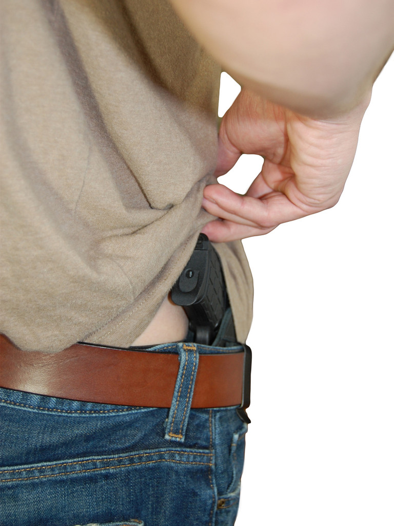 New Black Leather Tuckable IWB Holster + Magazine Pouch for 380, Ultra Compact 9mm 40 45 Pistols (CTU68-4BL)