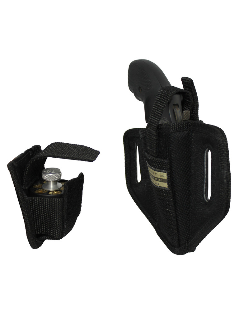 """6 Position Ambidextrous Pancake Holster + Speed-loader Pouch for 2"""" Snub Nose Revolvers"""