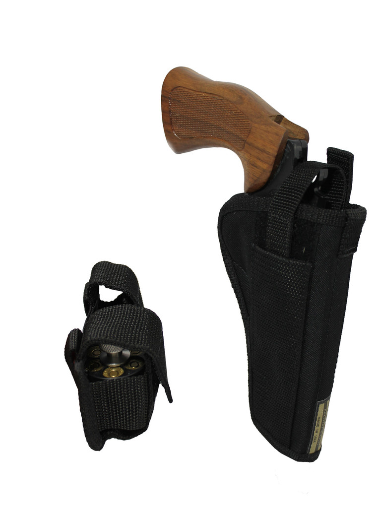 """OWB Holster + Speed-loader Pouch for 4"""" 22 38 357 41 44 Revolvers"""