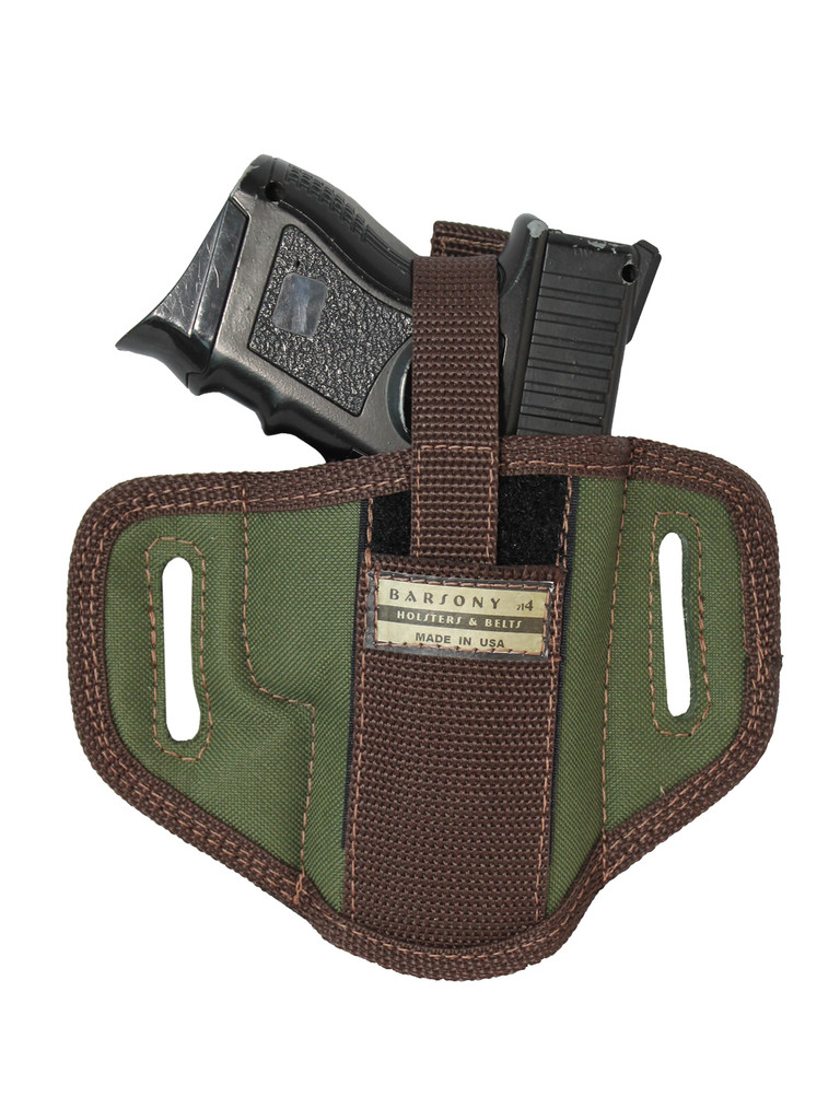 Woodland Green 6 Position Ambidextrous Pancake Holster for Compact Sub-Compact 9mm 40 45 Pistols