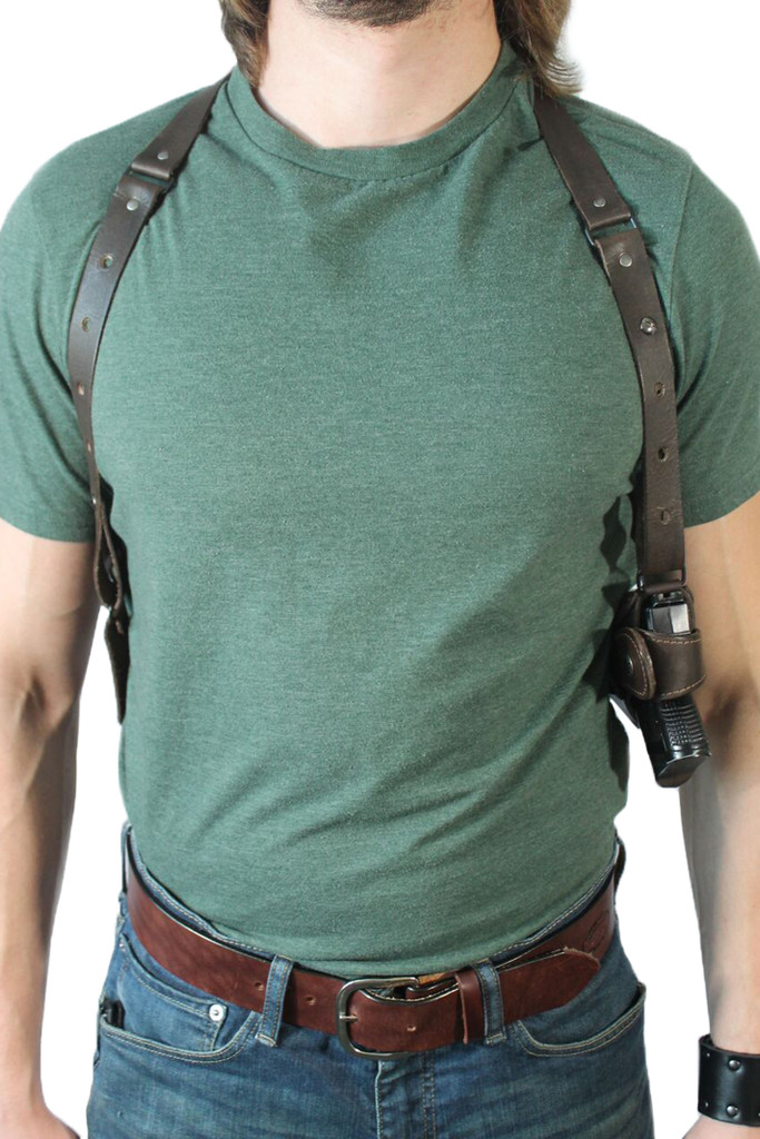 ambidextrous leather shoulder holster with belt tie down