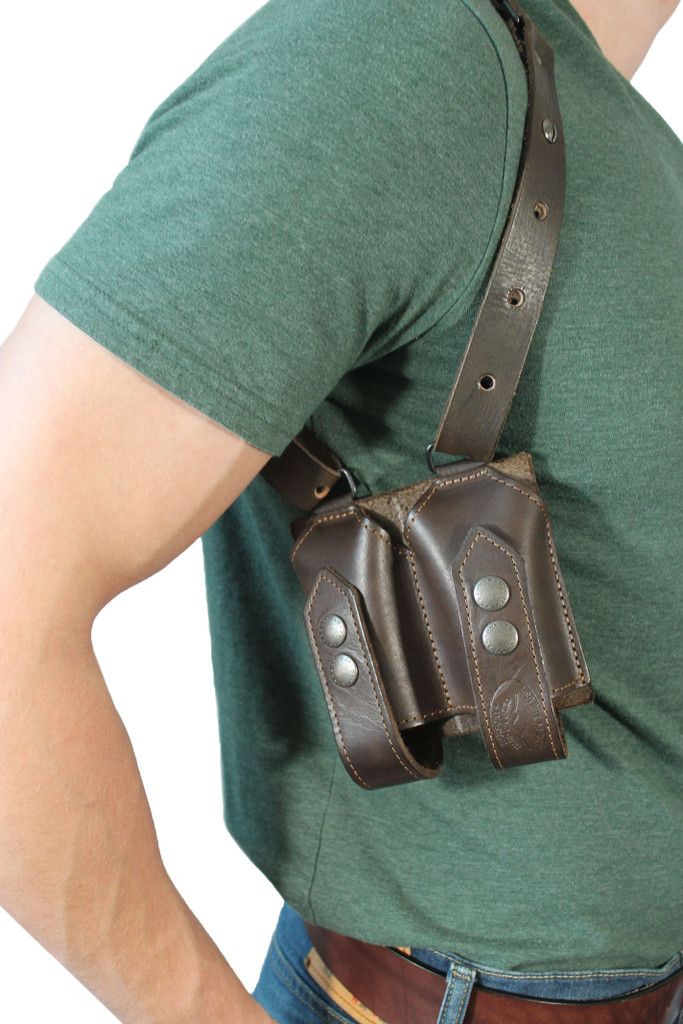 leather magazine pouch on shoulder harness