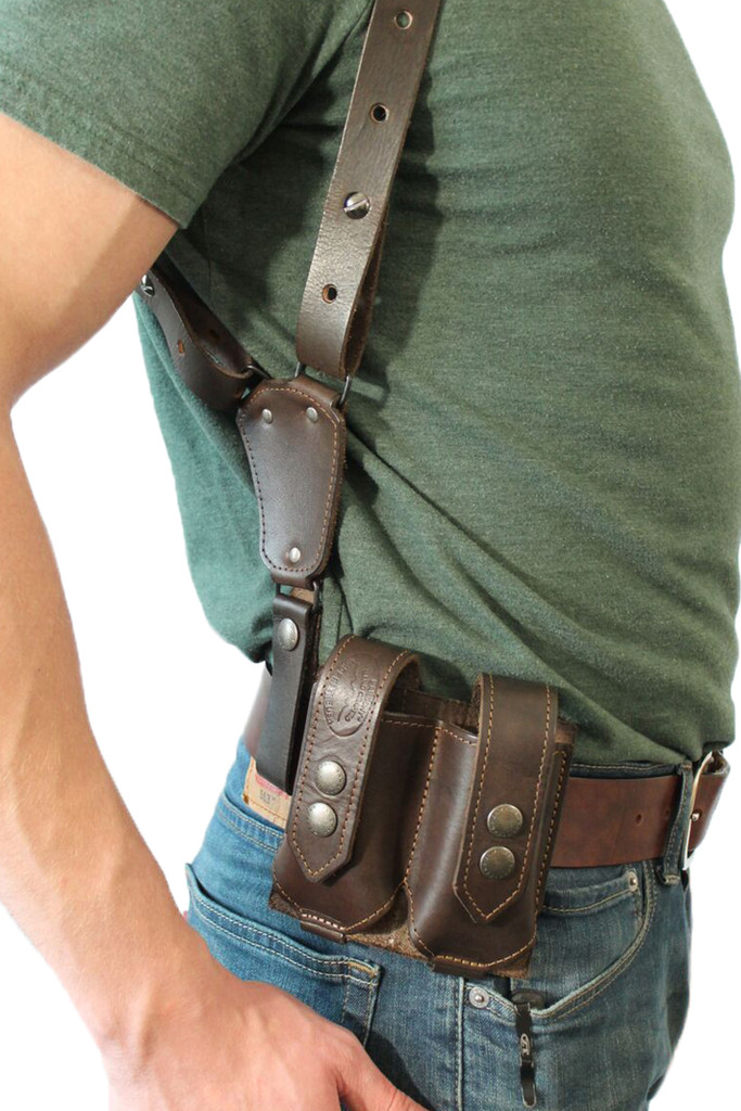 leather magazine pouch on belt with shoulder holster