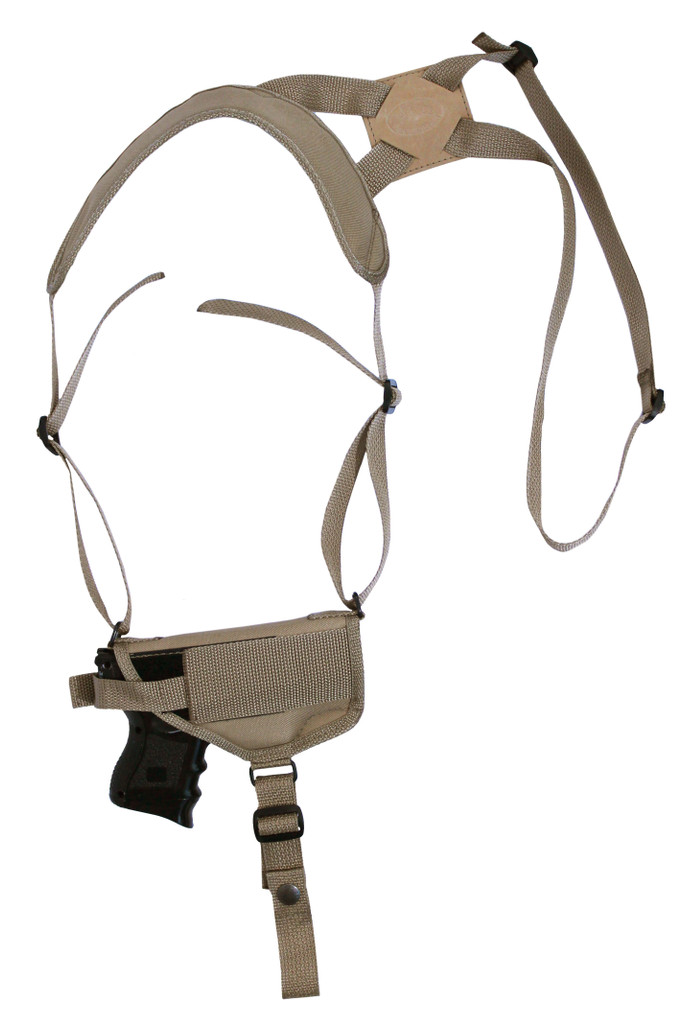 Desert Sand Horizontal Shoulder Holster for Compact Sub-Compact 9mm 40 45 Pistols