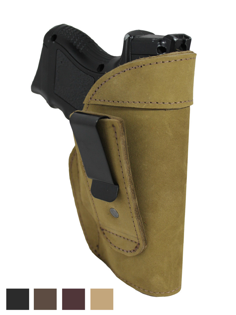 Holster store: Leather Tuckable IWB Holster for Compact Sub-Compact 9mm .40 .45 Pistols with LASER
