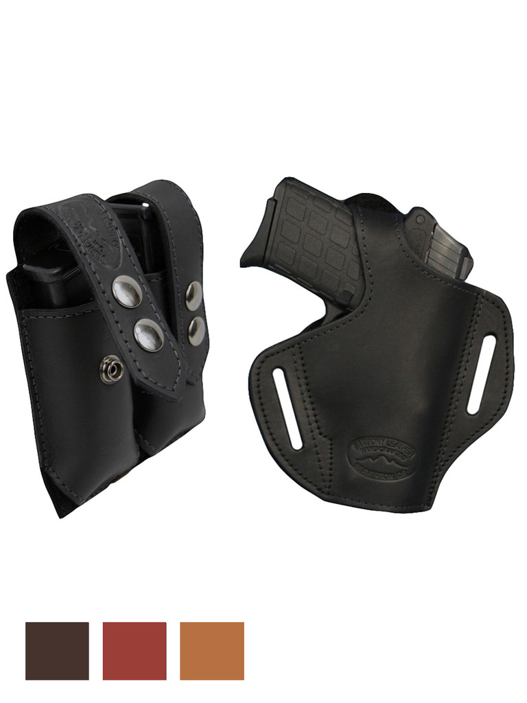 Leather Pancake Holster + Magazine Pouch for Small 380, Ultra Compact 9mm 40 45 Pistols