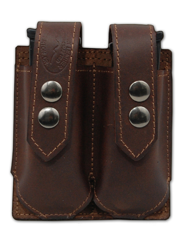brown leather magazine pouch