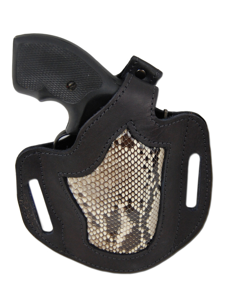 "Black Leather Python Snake Skin Inlay Pancake Holster for .22 .38 .357 2"" Revolvers"