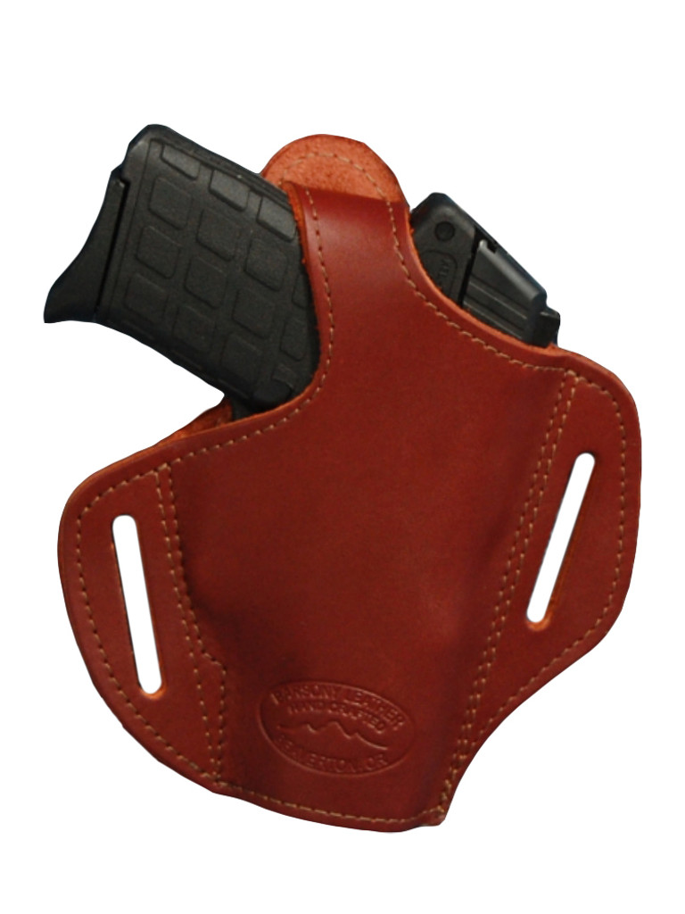 Burgundy Leather Pancake Holster for .380, Ultra Compact 9mm 40 45 Pistols