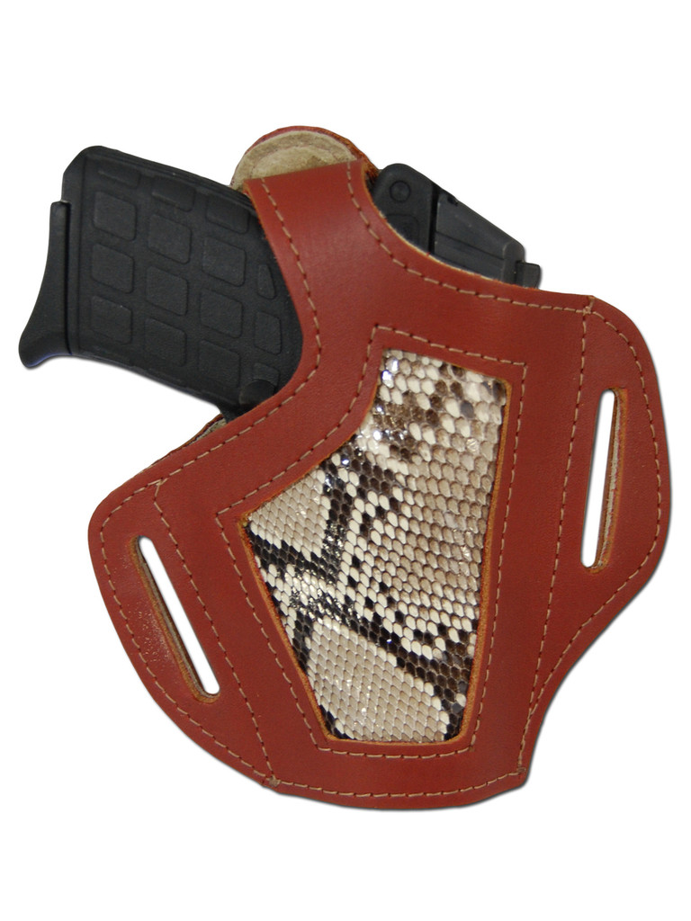 Burgundy Leather Python Snake Skin Inlay Pancake Holster for 380, Ultra Compact 9mm 40 45 Pistols