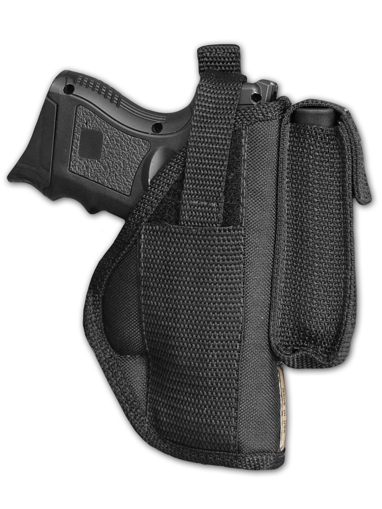 black OWB holster with magazine pouch