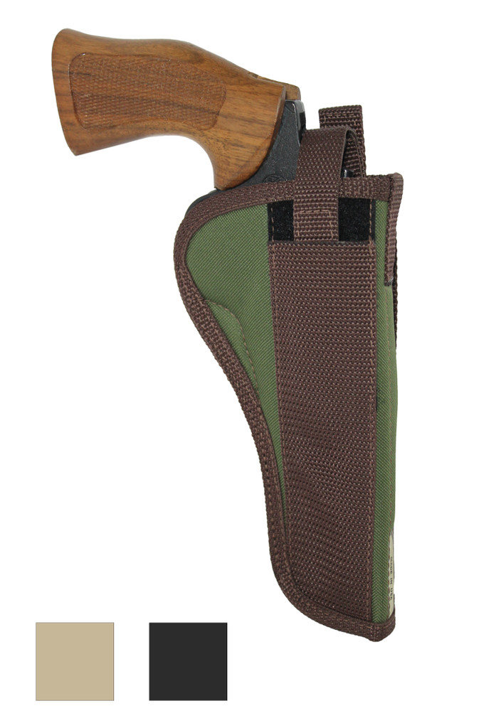 """Outside the Waistband Holster for 6"""" 22 38 357 41 44 Revolvers - available in black, desert sand and woodland green"""