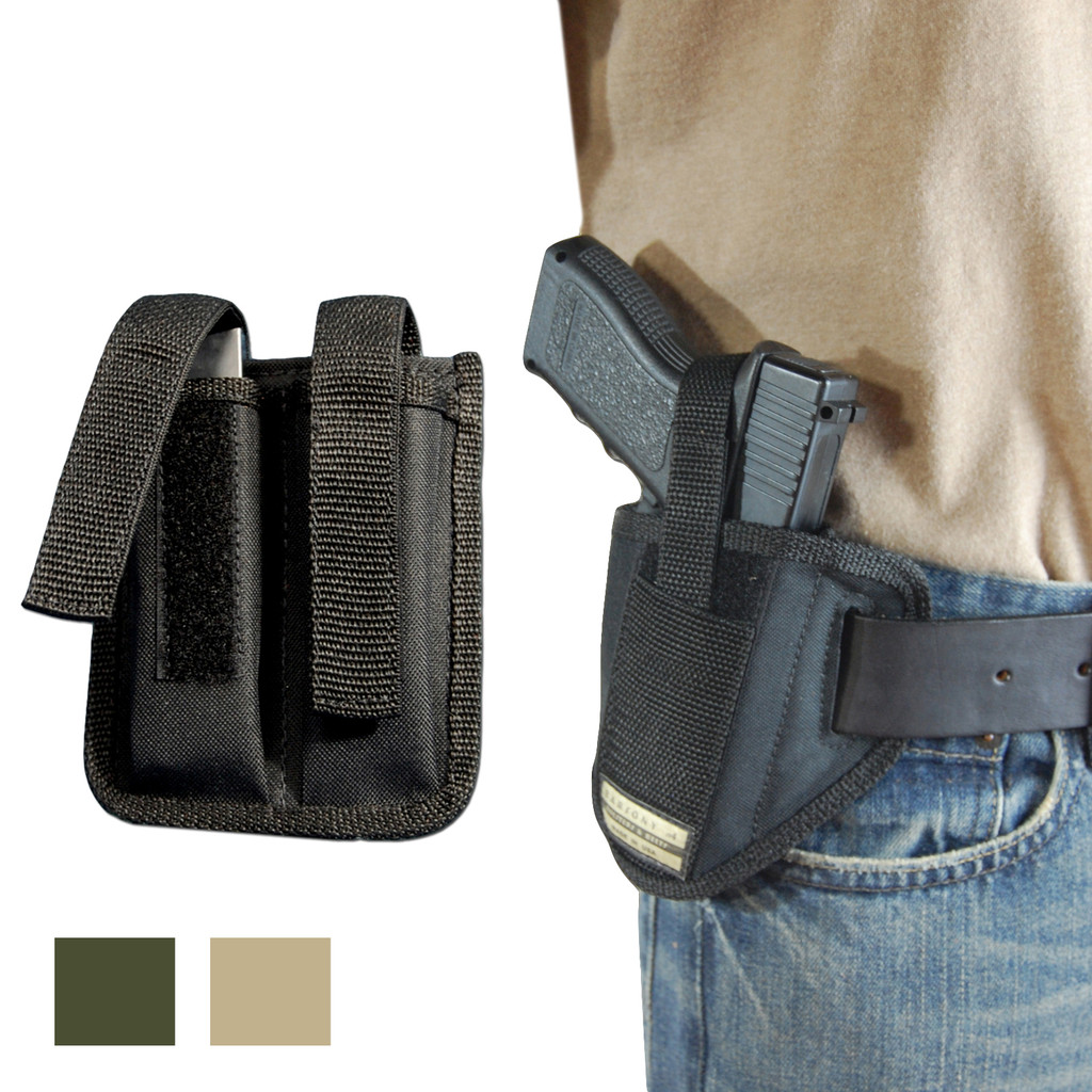 6 Position Ambidextrous Pancake Holster + Double Magazine Pouch for Full Size 9mm 40 45 Pistols