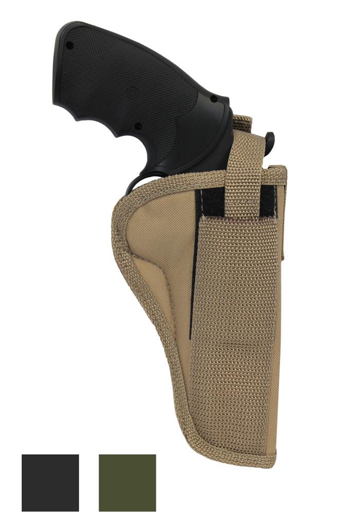 """Belt Holster for 4"""" 22 38 357 41 44 Revolvers - available in black, desert sand or woodland green"""