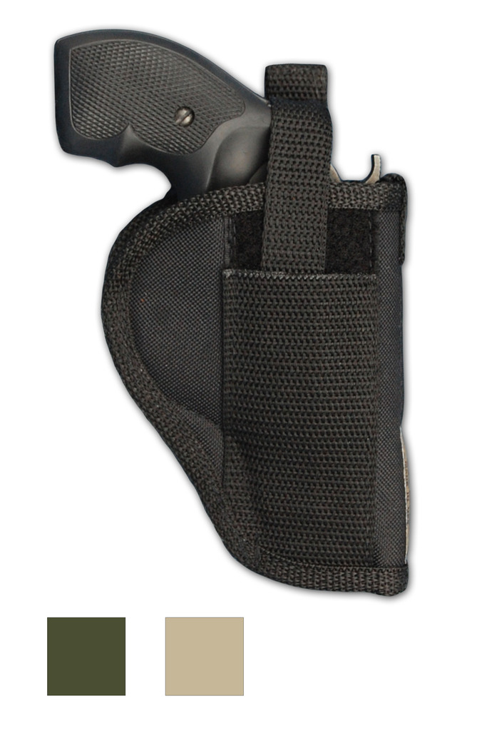"""OWB Holster for 2"""", Snub-Nose .38 .357 Revolvers - available in black, desert sand or woodland green"""
