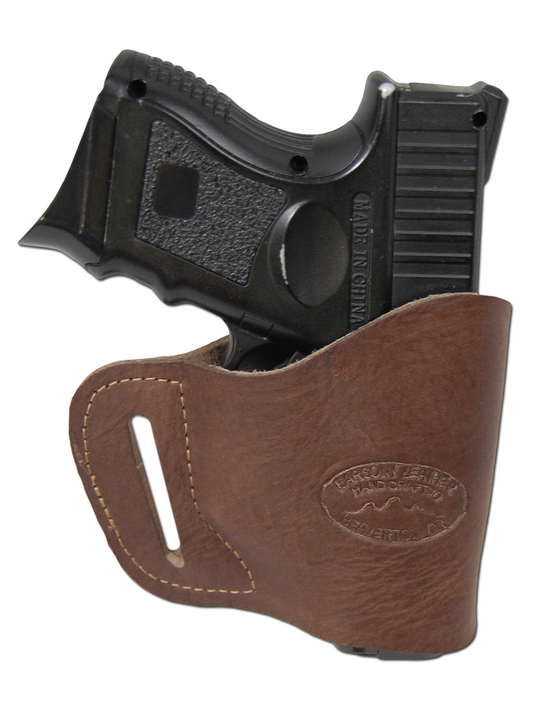 Brown Leather Yaqui Holster for Compact Sub-Compact 9mm 40 45 Pistols