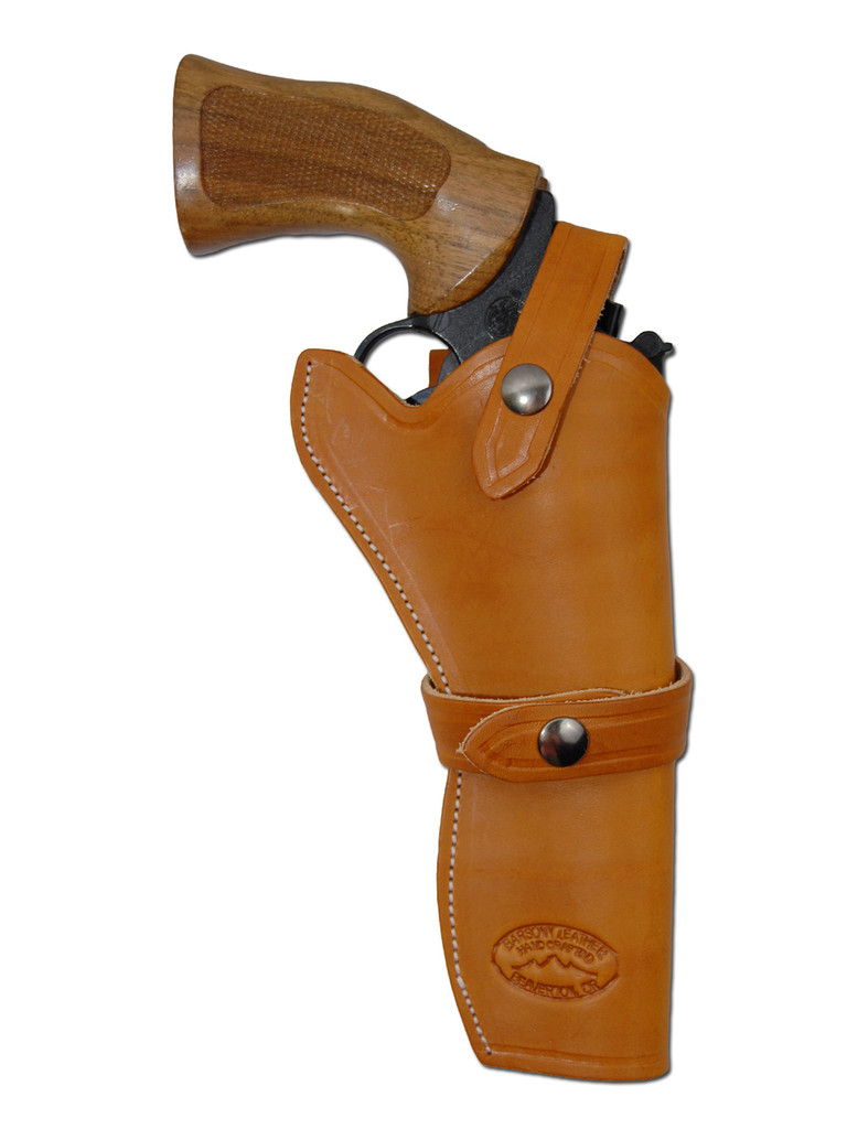 "Saddle Tan Leather Western Style Holster for 6"" Revolvers"