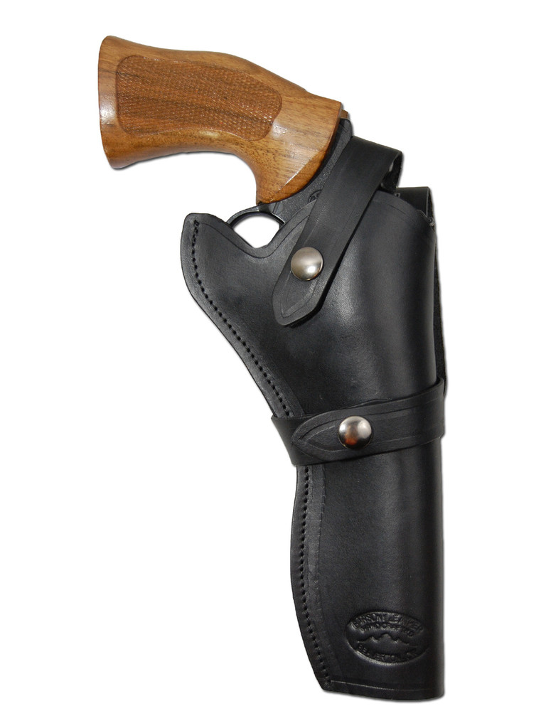 """Black Leather Western Style Holster for 6"""" Revolvers"""